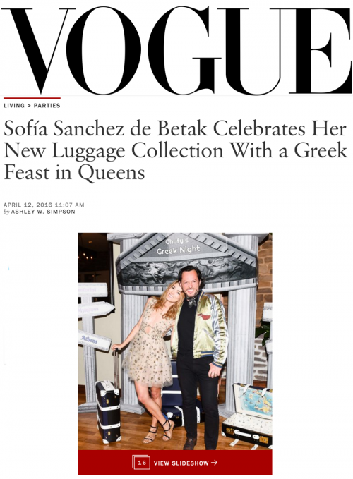 Sofía Sanchez de Betak Celebrates Her New Luggage Collection With a Greek Feast in Queens