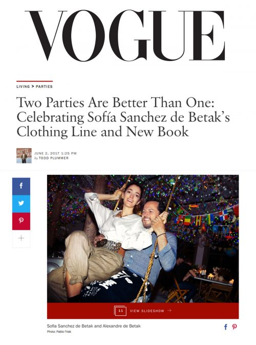 Two Parties Are Better Than One: Celebrating Sofía Sanchez de Betak's Clothing Line and New Book